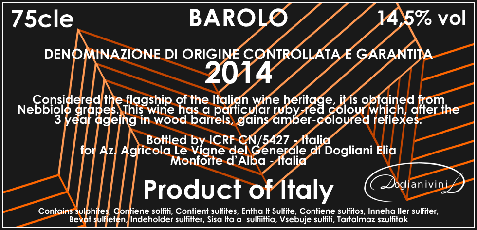 Monero 2014 Barolo Side Label